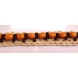 Ruban dentelle écru avec perles en bois