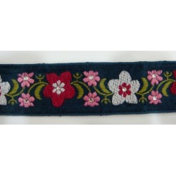 Ruban jeans fleurs