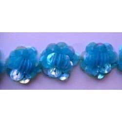 Fleurs paillettes bleues