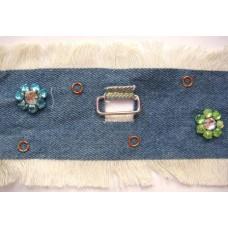 Ruban jeans petites fleurs