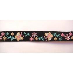 Ruban noir à fleurs roses