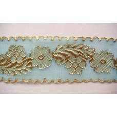 Ruban turquoise et or